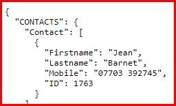API json output