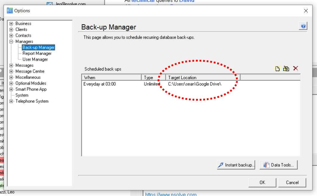 Google Drive nCall Back-up