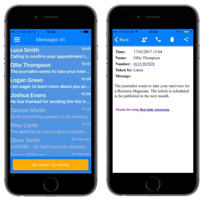 MyTAS smartphone app screenshots