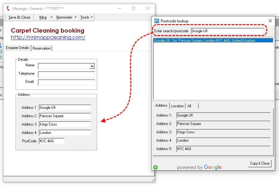 Postcode Server using Google API