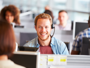 Man in call center using nCall