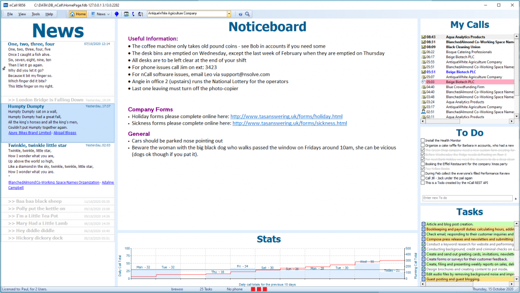 Keeping your operators informed and focused - the nCall call handling software Homepage feature. nSolve