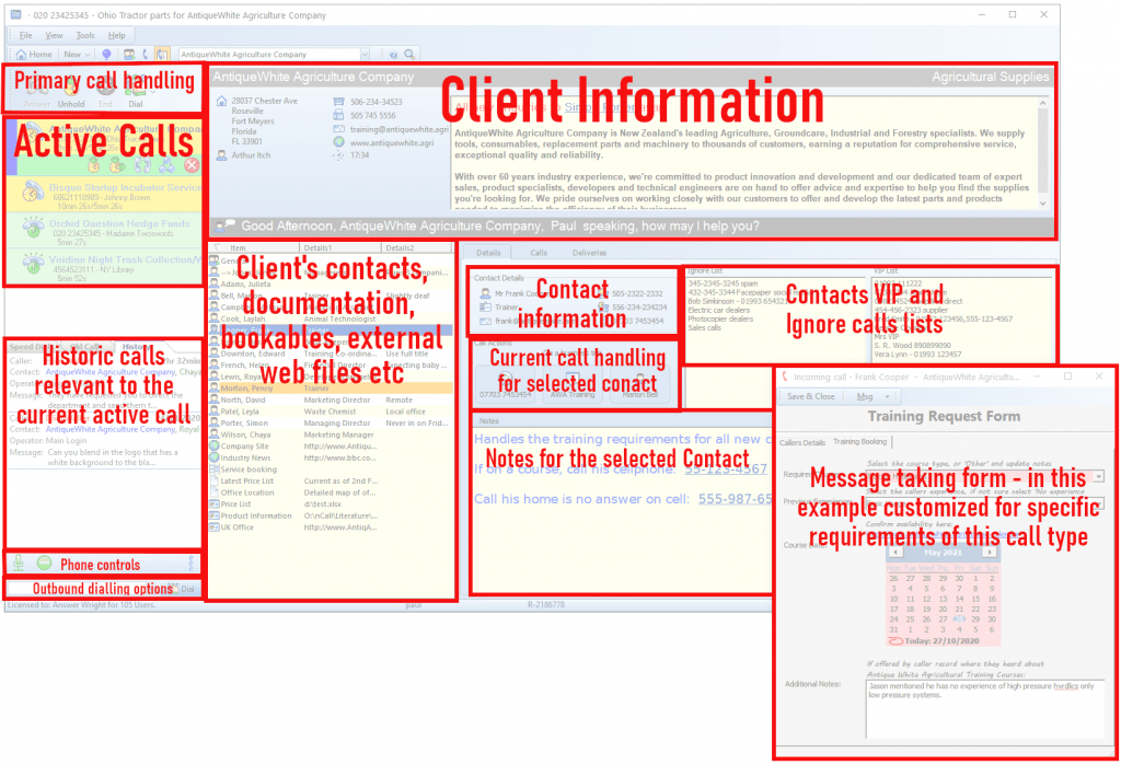 Each section of the nCall application is highlighted in this image